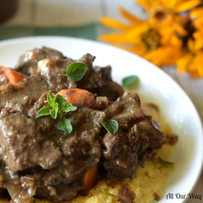 Italian Venison Stew Alla Montanara is a hearty deer stew made with red wine, porcini mushrooms and bacon.