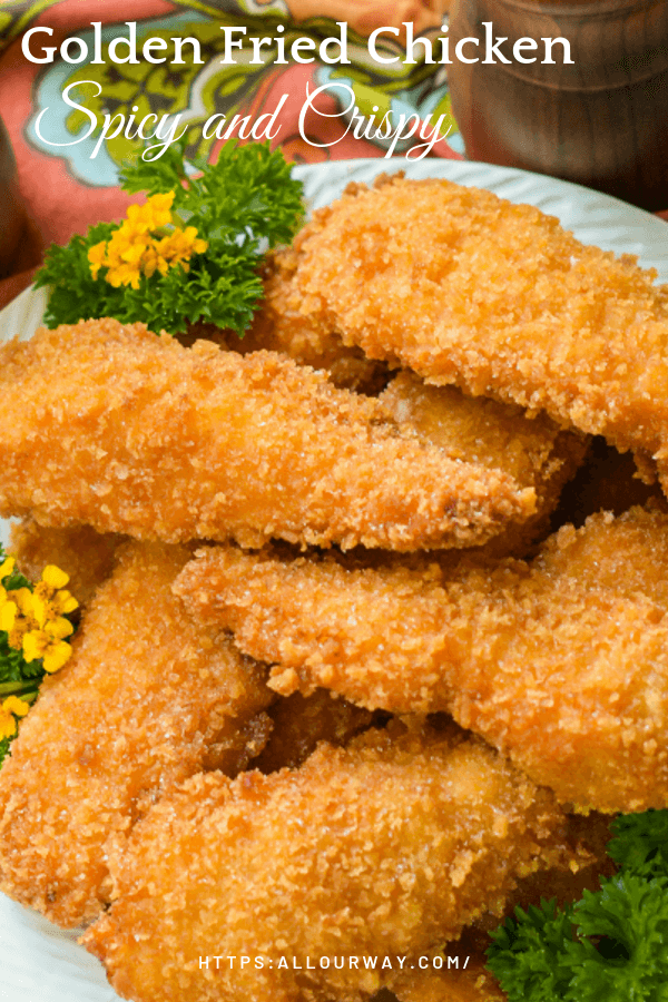 Crispy Fried Chicken cooks a golden brown while the meat inside is moist and tender with a spicy tang. It's delicious still warm and still good cold. Ideal for a picnic or gathering. #friedchicken, #crispychicken, #goldenbrownchicken #chickentenders, #pankocrust #maindish, #chickenmaindish, #entree,   #allourway