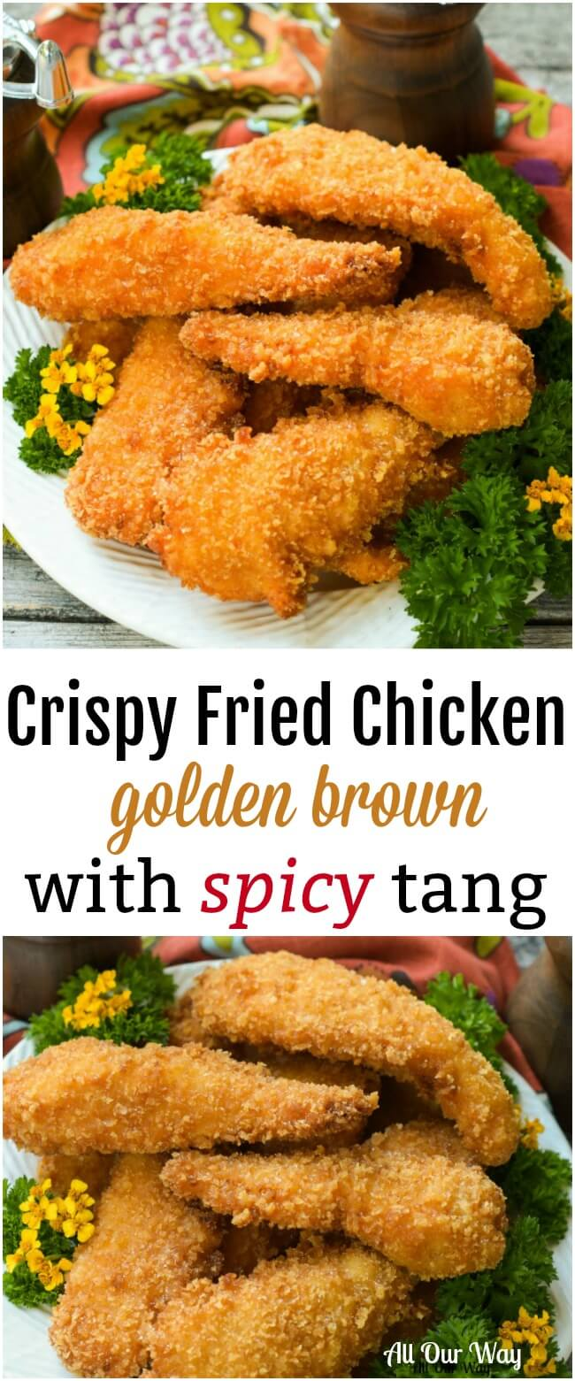 Crispy Fried Chicken cooks a golden brown while the meat inside is moist and tender with a spicy tang. #fried chicken, #crispy chicken, #chicken tenders, #panko crust