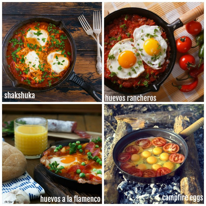 Spicy Eggs in Purgatory has many variations. The eggs poach in a seasoned tomato sauce.