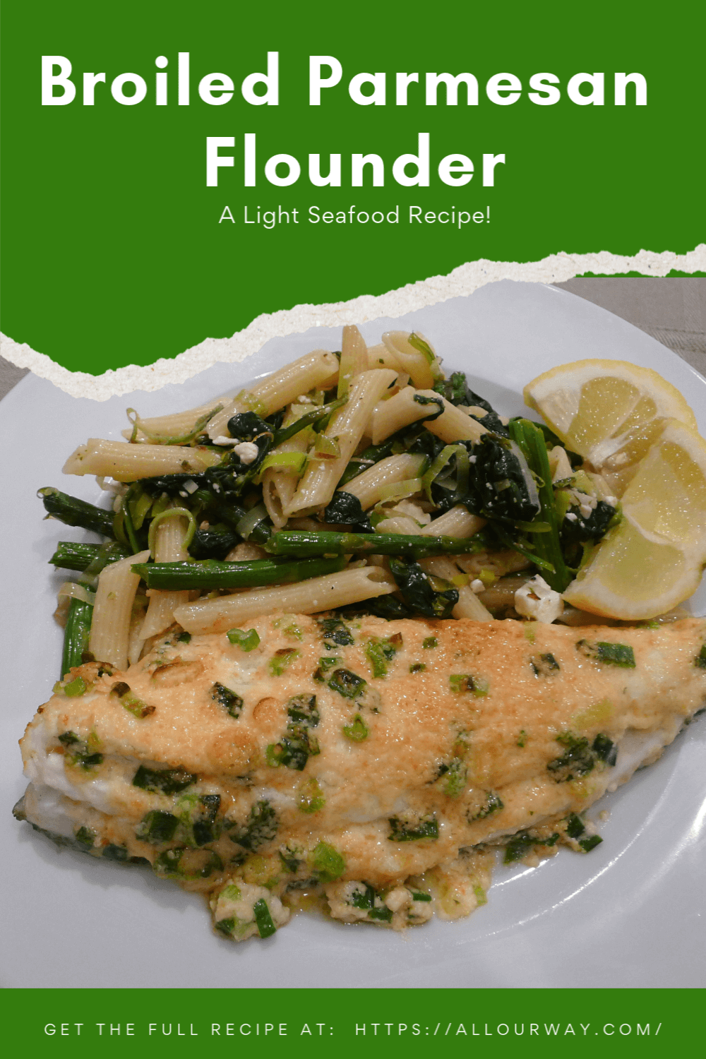Delicious broiled flounder recipe. The fish is first brushed with lemon juice then topped with a coat of parmesan, butter, mayo, and green onion. The flavor is rich but the calories are low. This recipe is great on your menu during seafood night and Lent. #flounder, #broiledflounder, #parmesanbroiledseafood, #broiledfish, ##broiledseafood, #Lentenfishdinner, #easyfishdish, #lowcalorieseafood, #healthyseafood