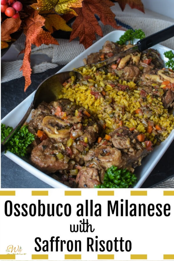 Four ossobuco alla Milanese in A white rectangle platter holding ossobuco with a rich wine sauce on top. Italian parsley surrounds the lamb shanks as a garnish.