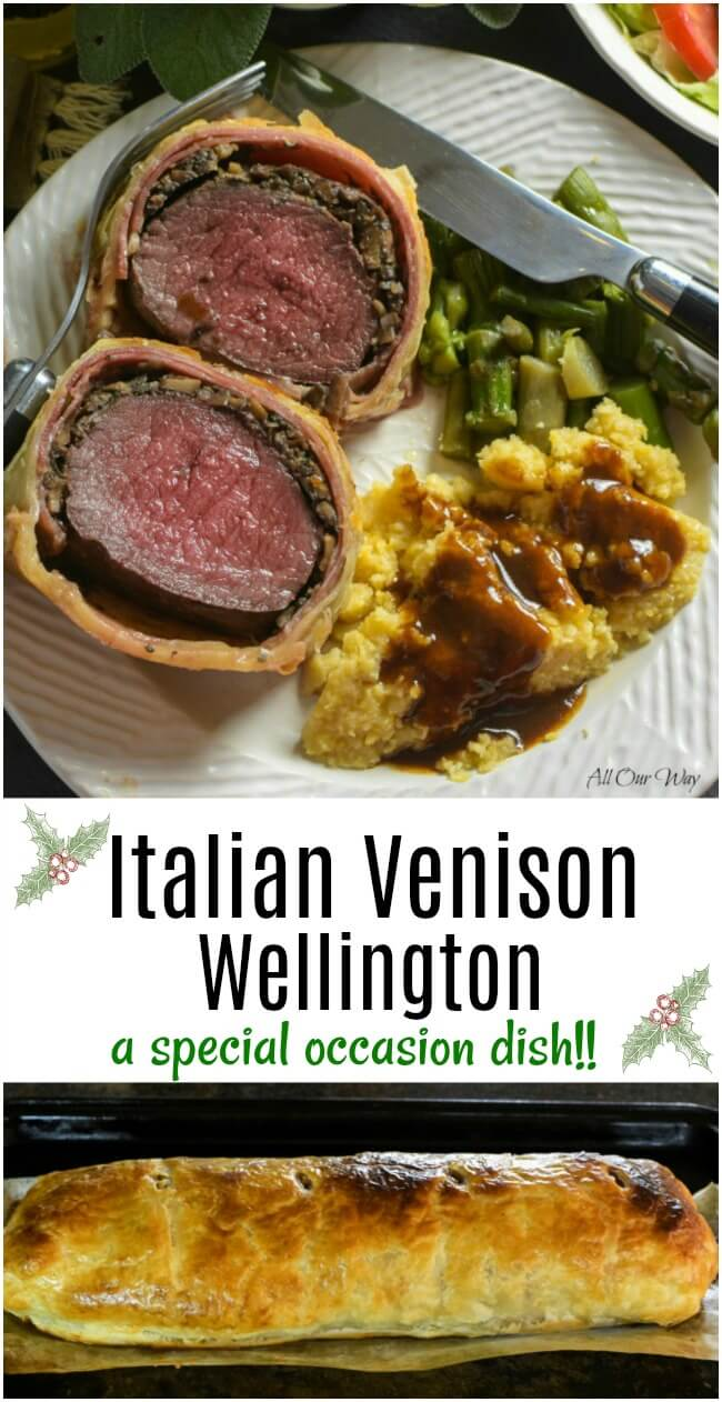 Italian Venison Wellington on plate with polenta and Marsala sauce. #venison_tenderloin, #deer_fillet, #Tenderloin_in_puff_pastry, # Marsala_sauce, #allourway
