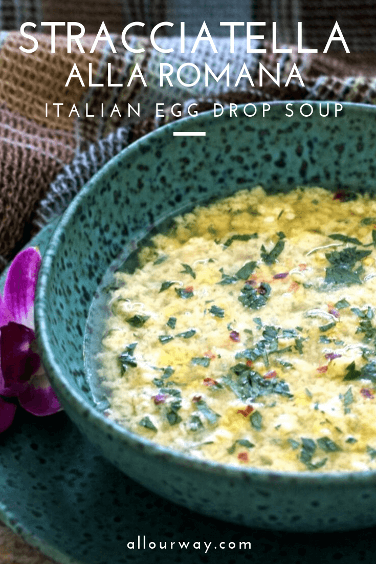 Stracciatella alla Romana is an Italian Egg Drop Soup that is quick to make and super tasty. A satisfying soup that you'll want to make again and again. #soup, #Italiansoup, #Italianeggdropsoup, #stracciatelllarecipe, #stracciatellaallaromana, #ragsoup, #quicksoup, #eggsoup