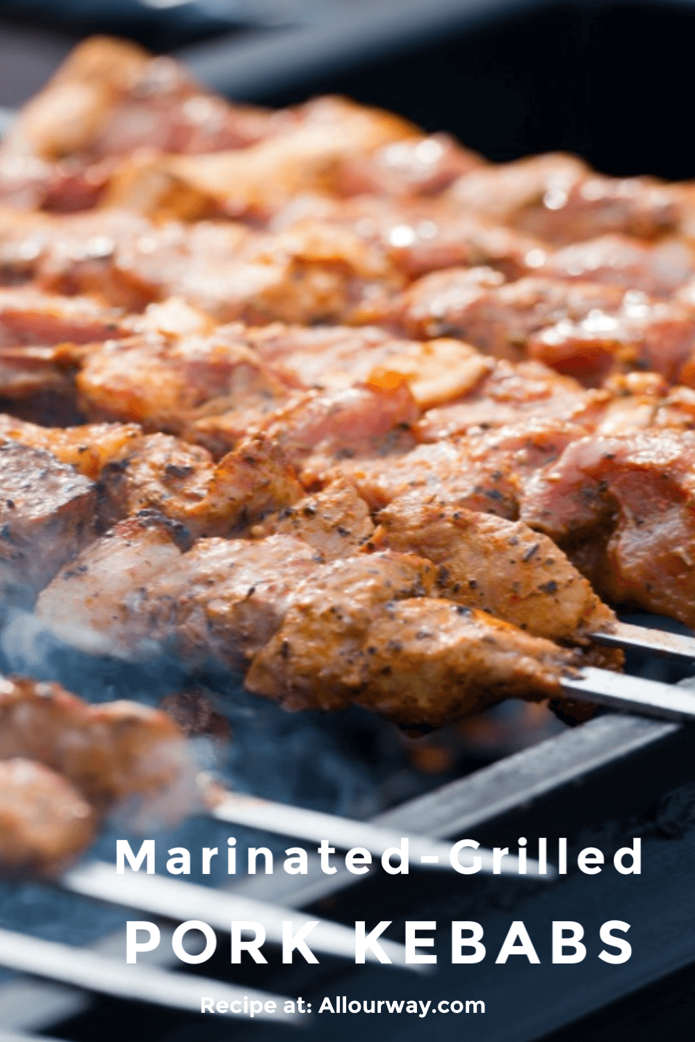 Grilled Pork Kebabs are first marinated in a tasty red wine/lemon/Dijon marinade and then quickly grilled over high heat. The meat is juicy and flavorful in just minutes. A great meat idea for summer evenings or even camping. Easy to prepare ahead of time and then grill when ready.