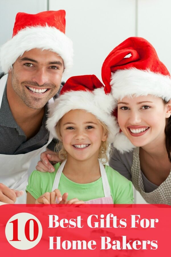 Best gifts for the home baker which includes a Man, woman, and young girl in the kitchen wearing aprons and red Santa Hats. They are baking cookies.