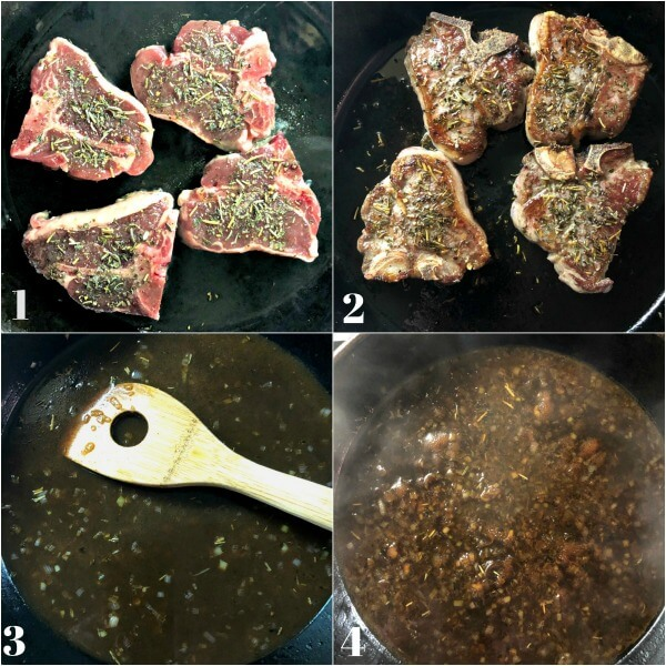Collage of how to make Pork chops recipe. Cook meat on both sides then deglaze pan with vinegar and reduce liquid.