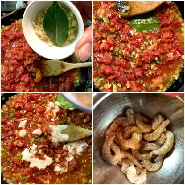 Collage of second set of steps for making Spicy Shrimp Creole.