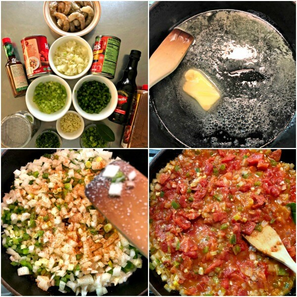 A collage of the first four steps to making Spicy Shrimp Creole.