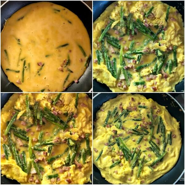 Collage of the second set of steps on how to make an asparagus frittata.