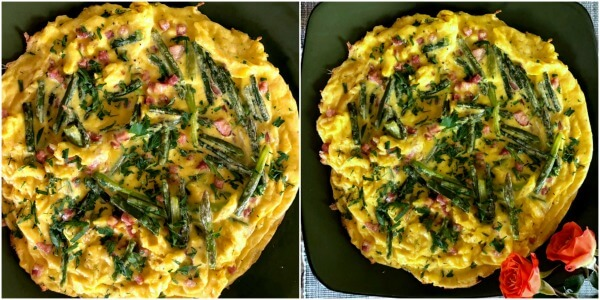 Collage of Asparagus frittata just out of the oven.