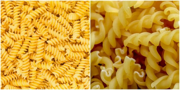The photo on left is of a rotini pasta and the photo of the right is dry fusilli pasta.