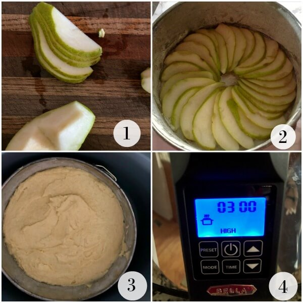 Collage showing how to slice pears and arrange them in the bottom of a springform pan for the polenta cake and the front of the slow cooker showing time.