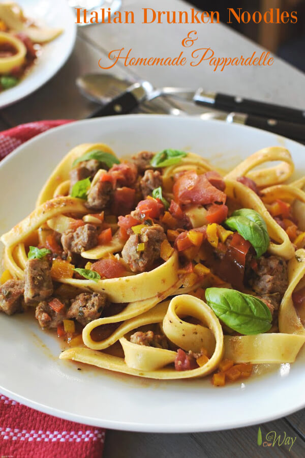 A white plate filled with pappardelle pasta and a sauce with colored bell peppers and sausage. A red tea towel with white stripes on the plate side.