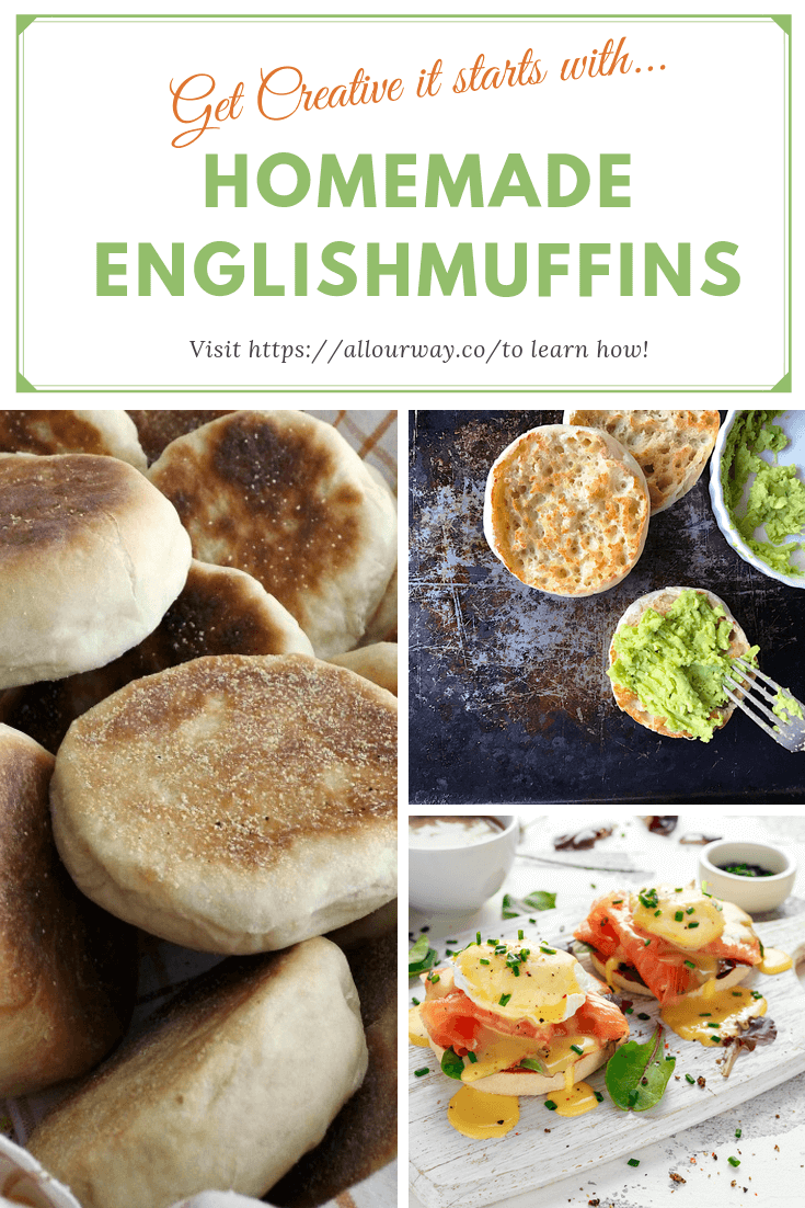 It all starts with Homemade English muffins. Slather on butter and jam or use them for sandwiches. Get creative and make a special meal with the muffins. #englishmuffins, #englishmuffinrecipe, #nobakeenglishmuffins