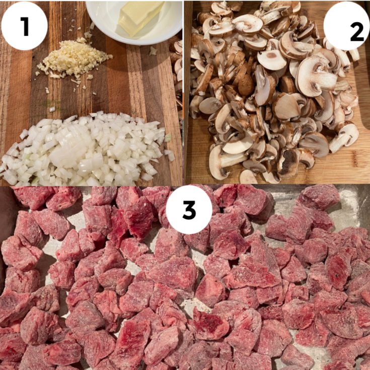 Collage of prepared beef, onion, garlic, and mushrooms for oup