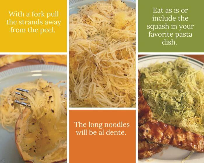 Third collage with instructions on making al dente spaghetti squash