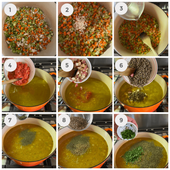 Collage of the steps to make the Lentil soup.
