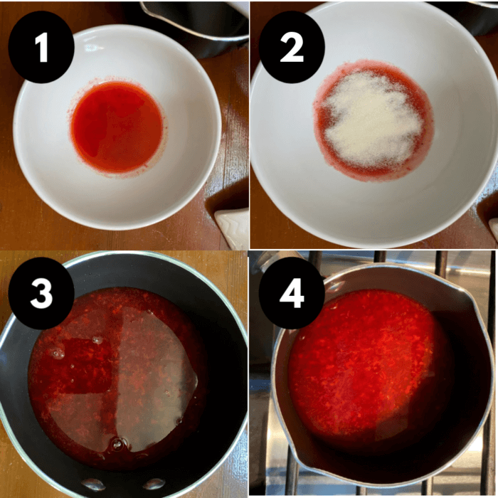 Collage of strawberry dessert directions.