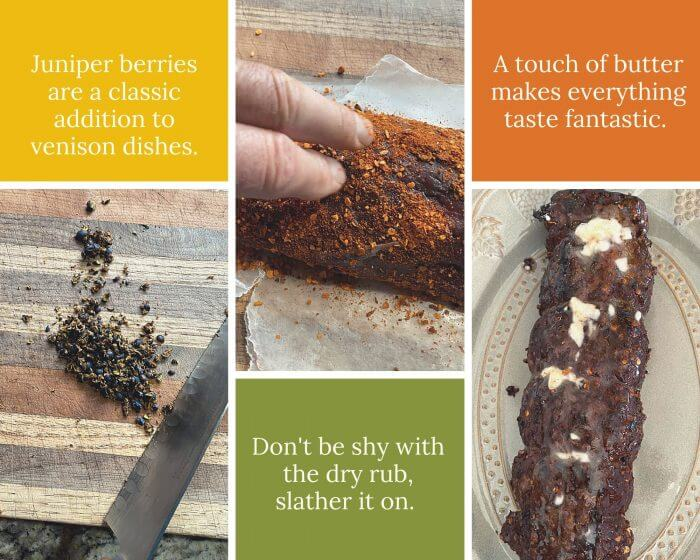 Collage of instructions to Venison Backstrap