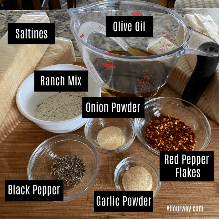 Ingredients for ranch crackers