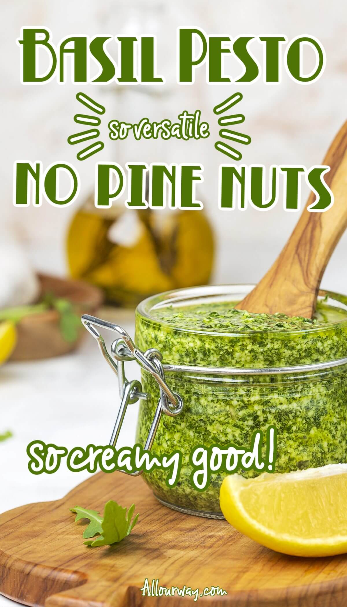 Homemade pesto without pine nuts can be a dip, sauce, or spread that pairs well with many flavors. Try mixing it with rice, risotto or mashed potatoes to see how much better the dish tastes. It is quick to make and versatile. We use walnuts so the pesto is also economical. Try making pesto with other greens - it will be a favorite condiment at your house.