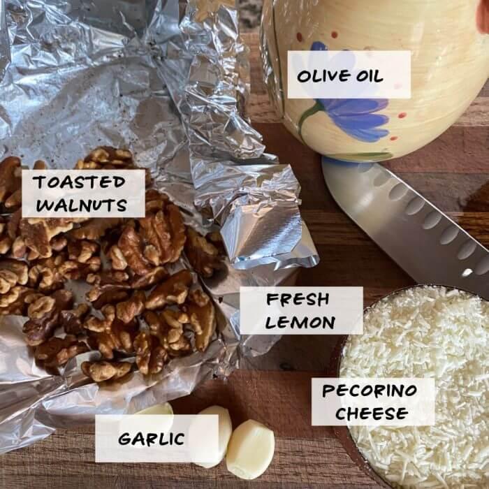 Ingredient photo for Walnut Pesto , walnuts, olive oil, lemon, garlic, pecorino cheese