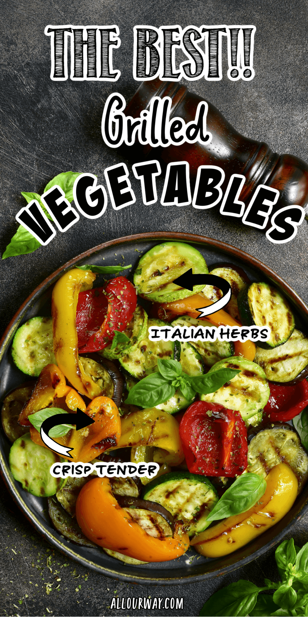 Italian grilled vegetables transforms ordinary veggies into a spectacular dish by cooking them until they are crisp tender. They are served with a tangy lemon vinaigrette and finished with a sprinkle of fresh basil.