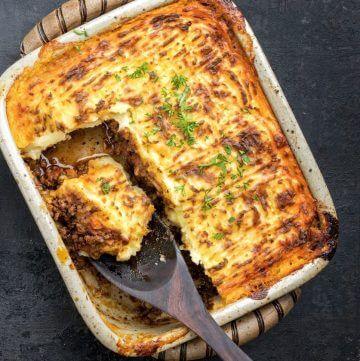 Casserole with mashed potatoes on top of meat filling. Shepherds Pie