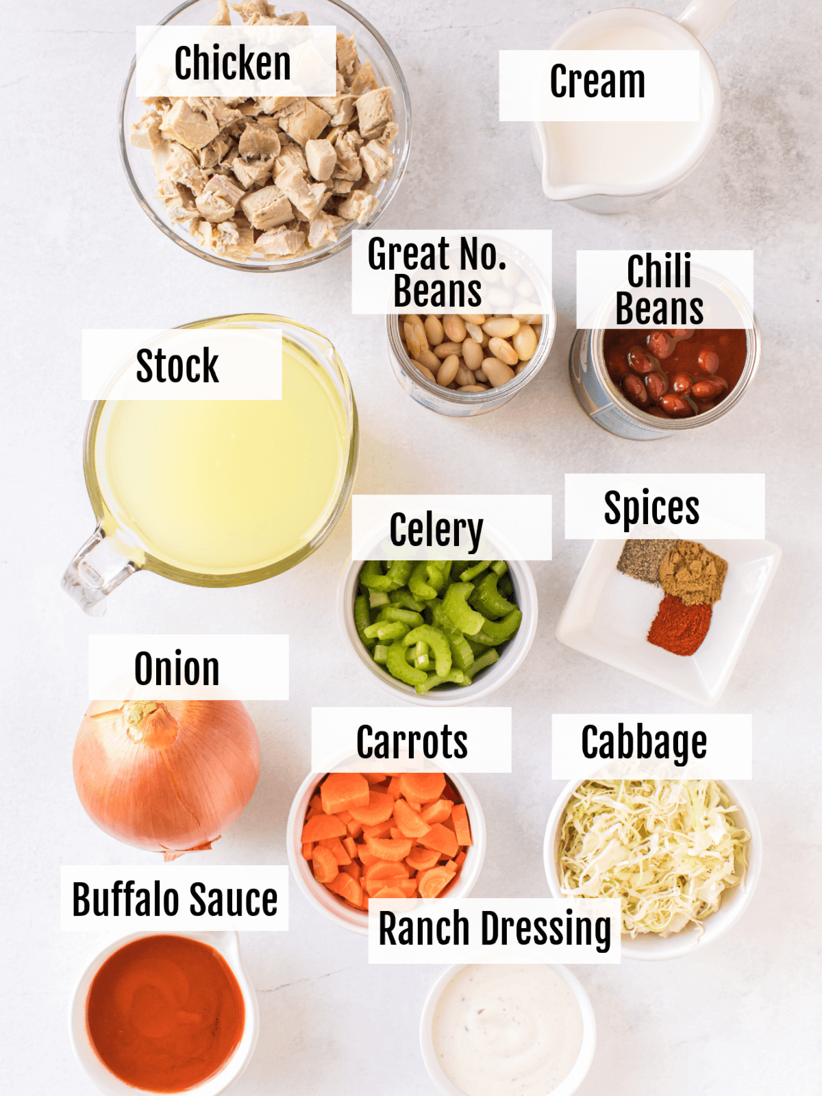 Ingredients for the Buffalo Chicken Soup.