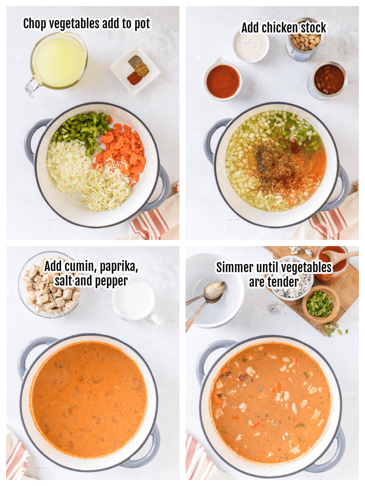 Collage with the first four steps of making the hot chicken chowder.