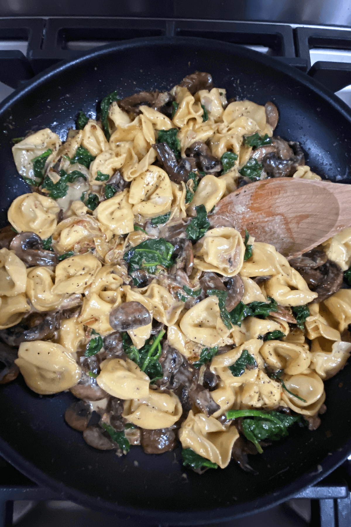 Cheese tortellini pasta mixed with caramelized onions, spinach and mushrooms in a large skillet for a easy weeknight meal.