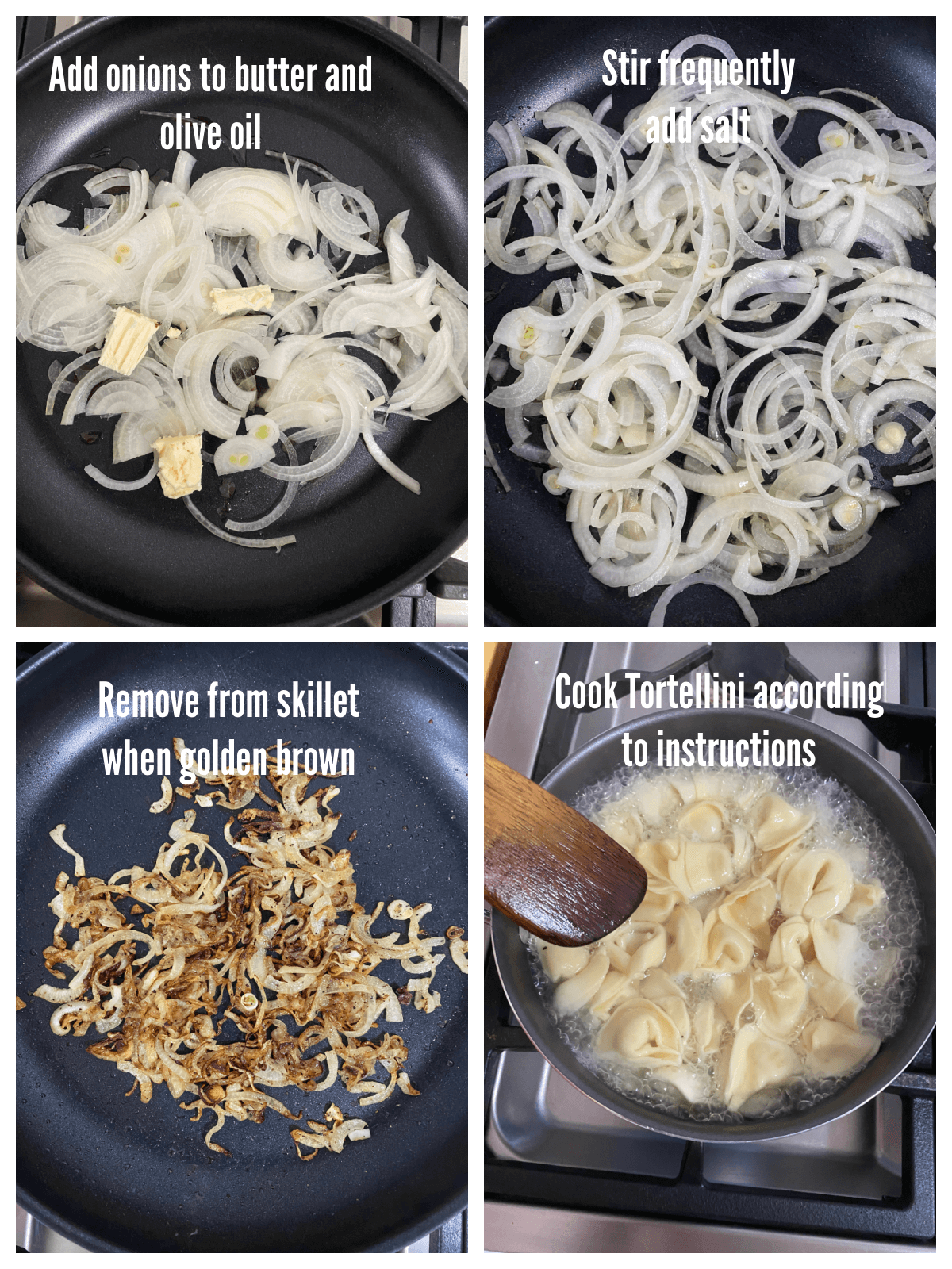 Collage showing first four steps of making Tortellini with Spinach and Mushrooms.