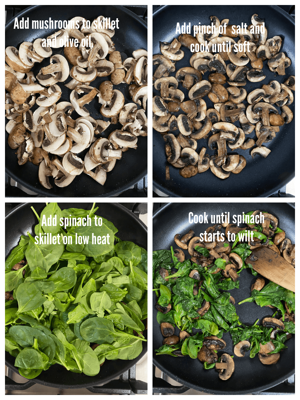 Collage with the second set of steps for making The Saucy Cheese Tortellini with Caramelized Onions.