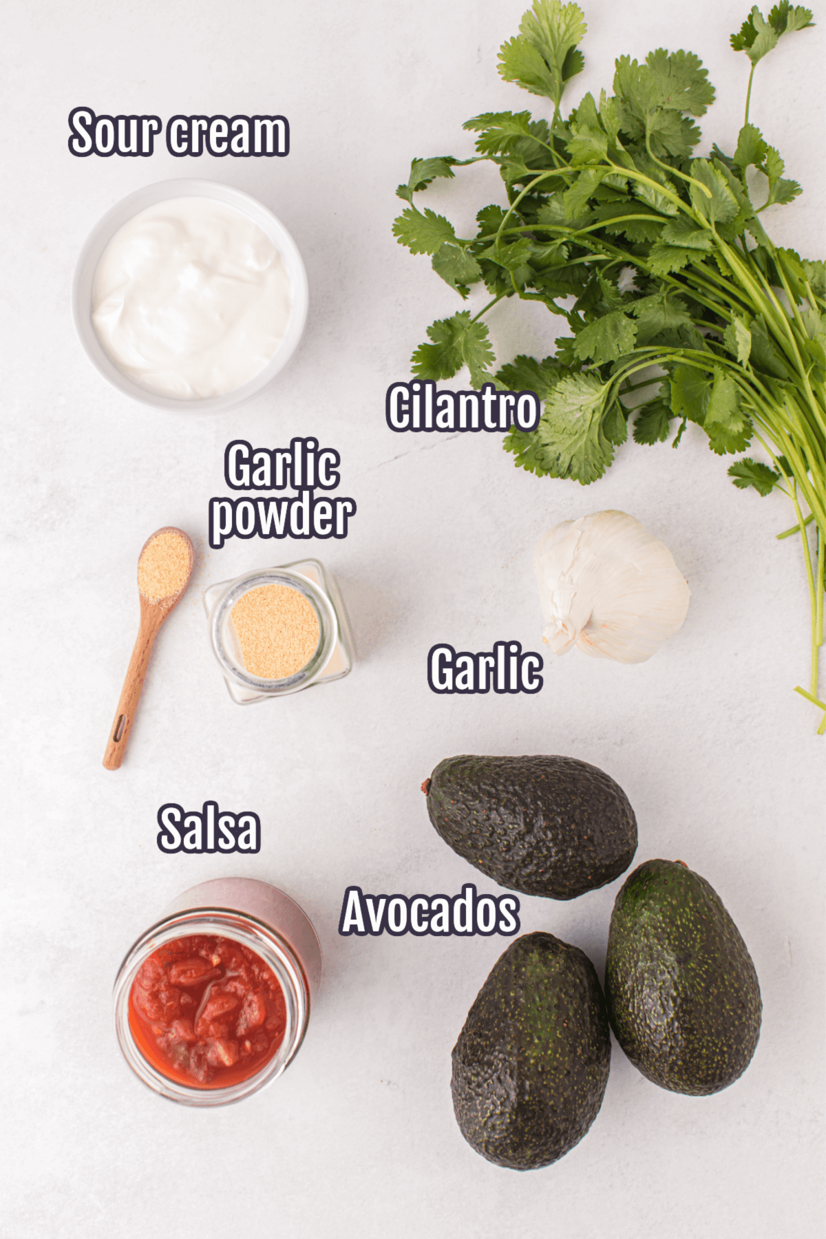 Ingredients needed for the Salsa Guacamole.
