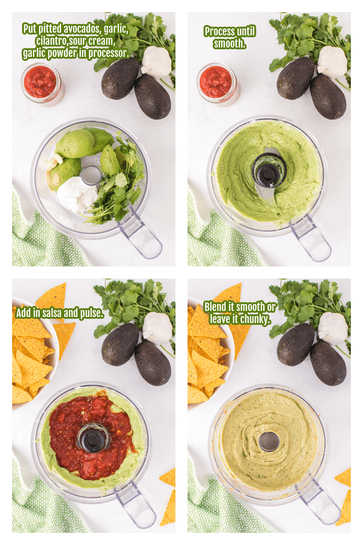 Collage of Guacamole Salsa Instruction.