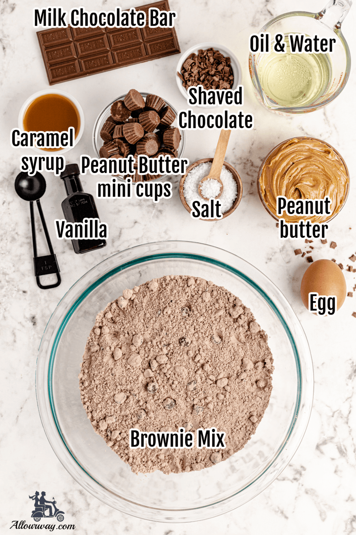 Ingredients for the Peanut Butter brownie cupcake recipe.