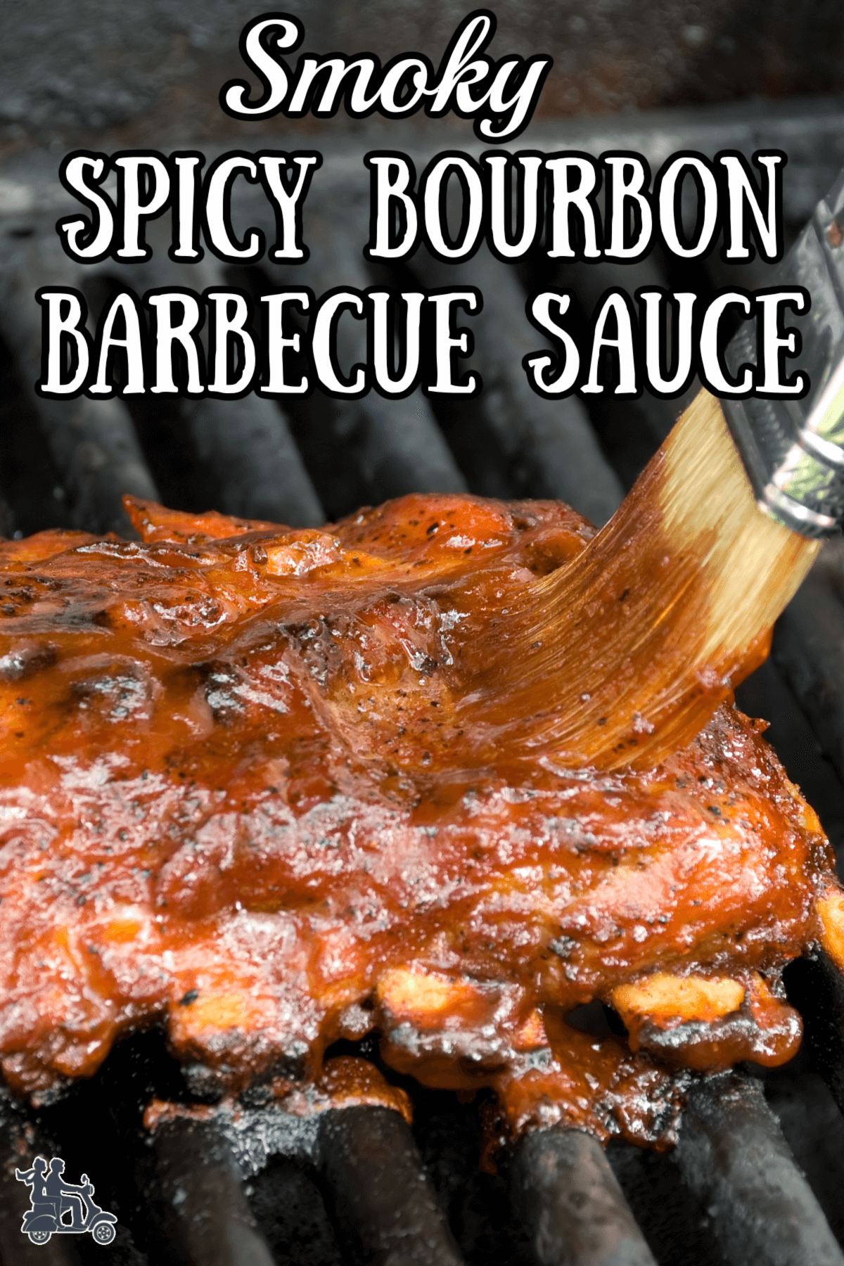 A brush slathering BBQ sauce on a slab of ribs that are on top of grill grates.