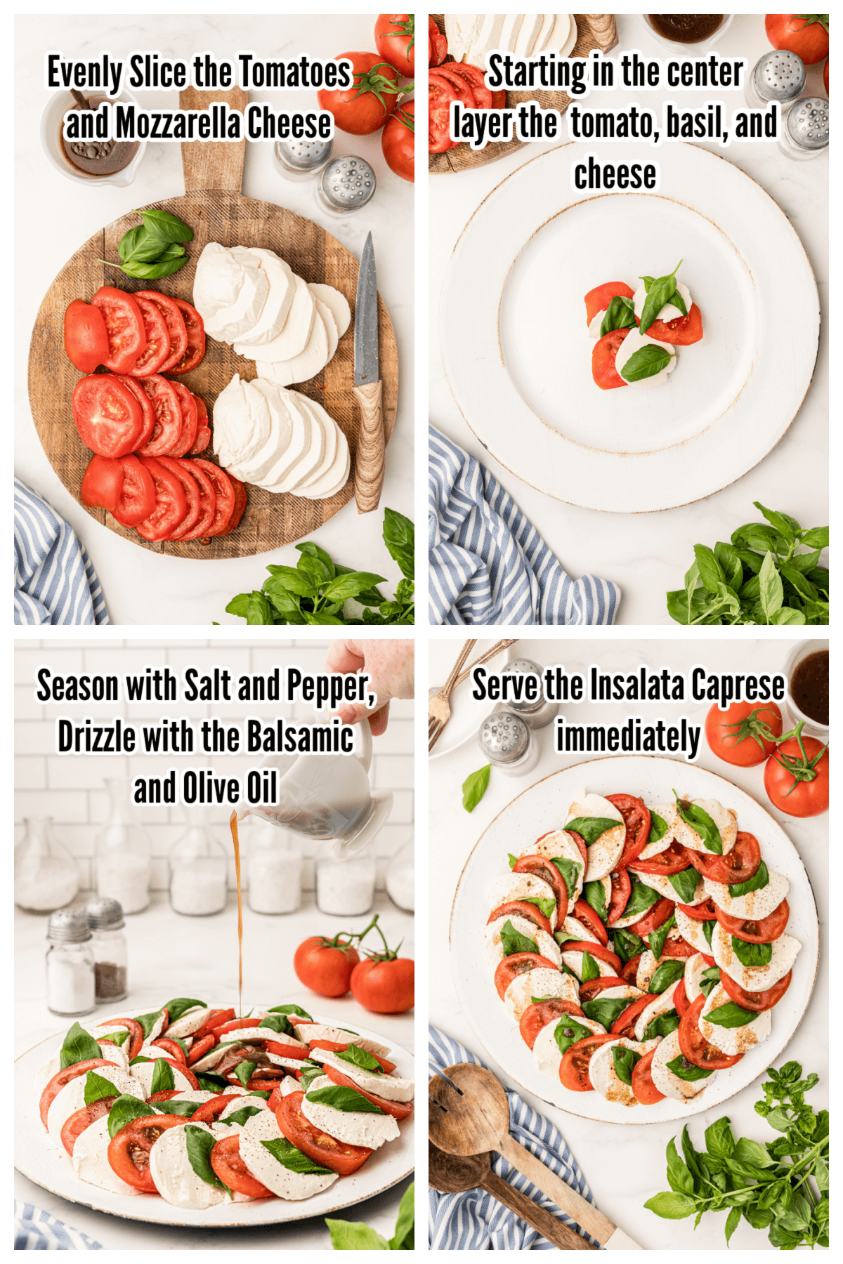 Collage of Instructions for making the Italian Antipasto salad.