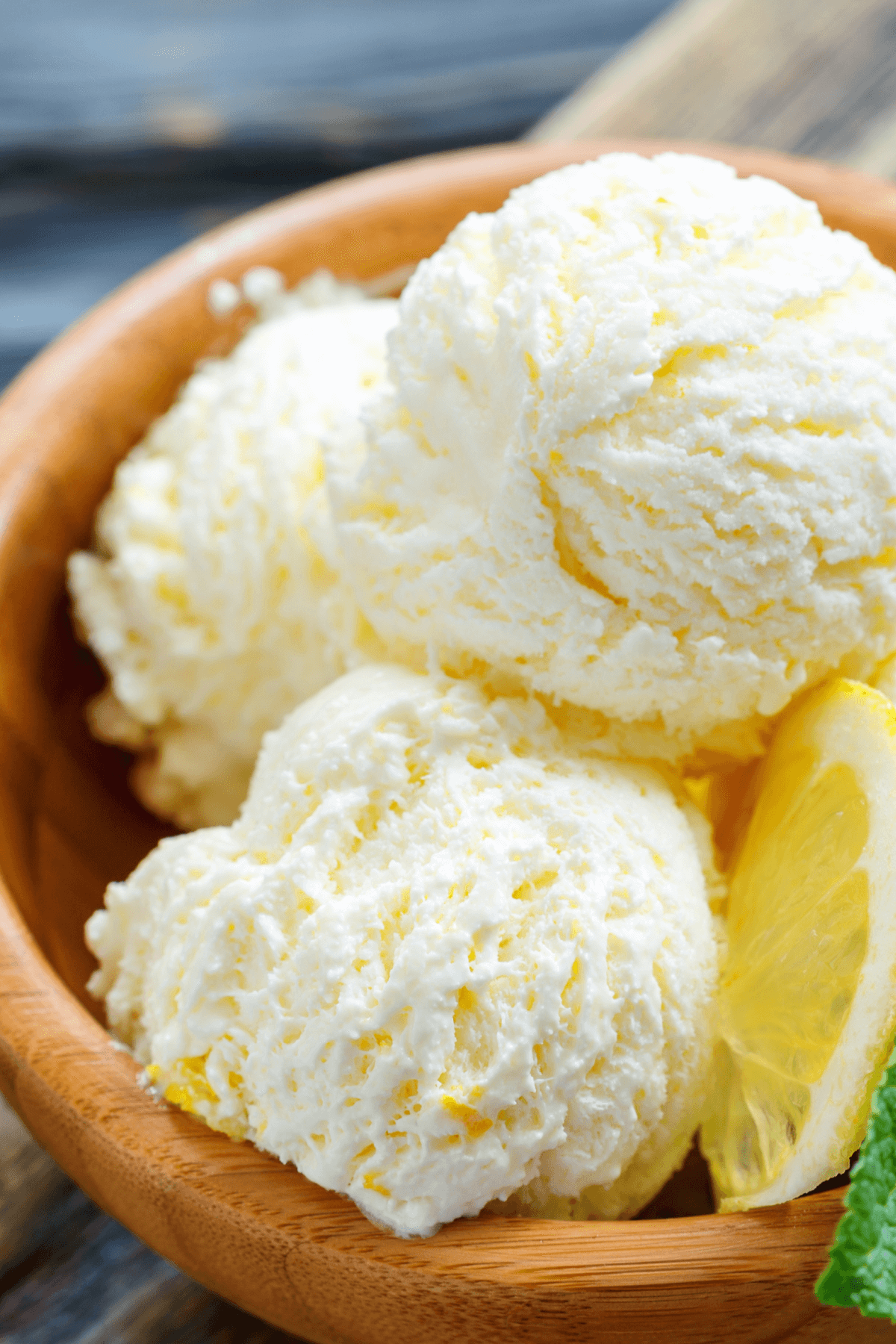 Lemon No-churn ice cream in bowl.