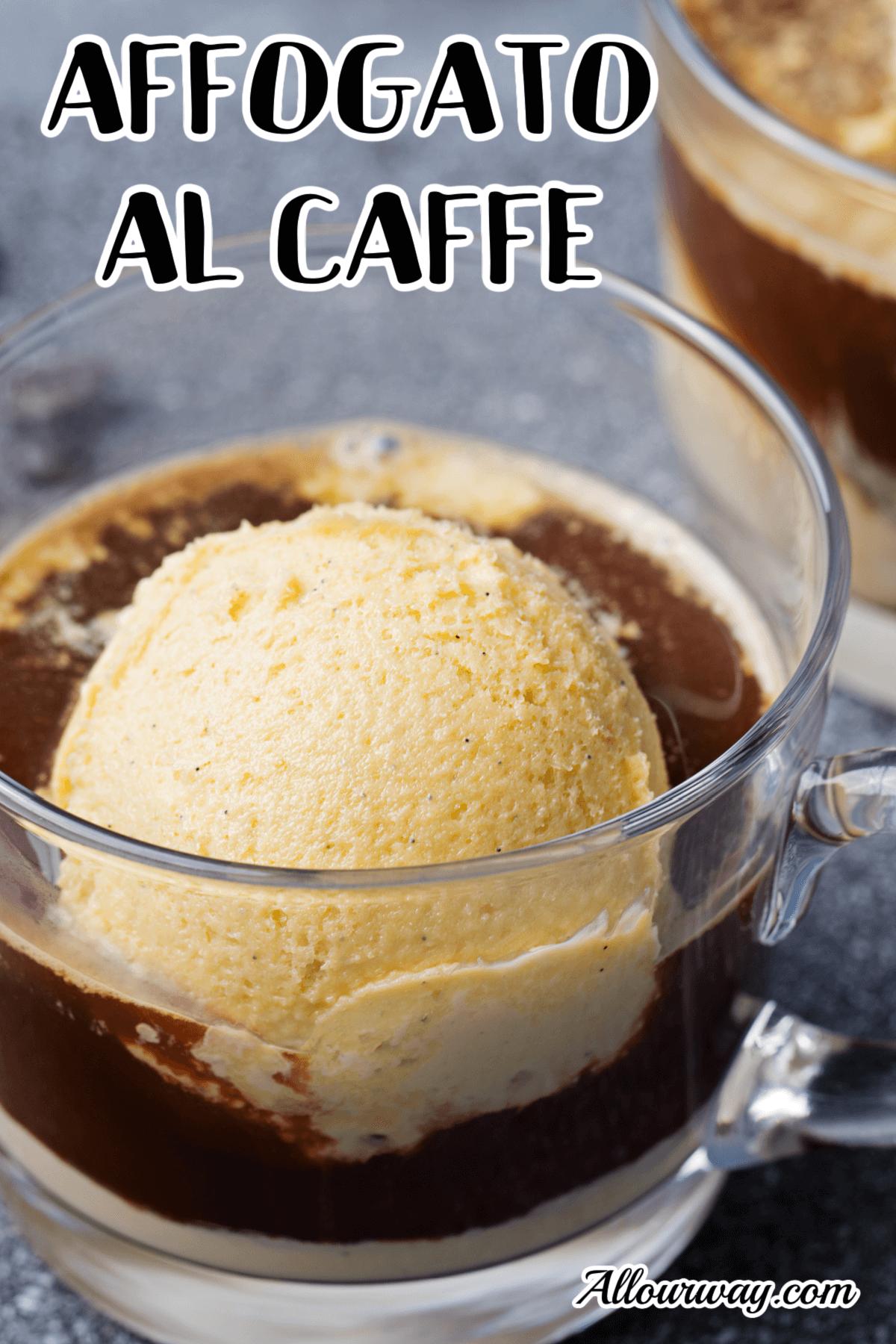Affogato al caffe in a glass cup with ice cream.