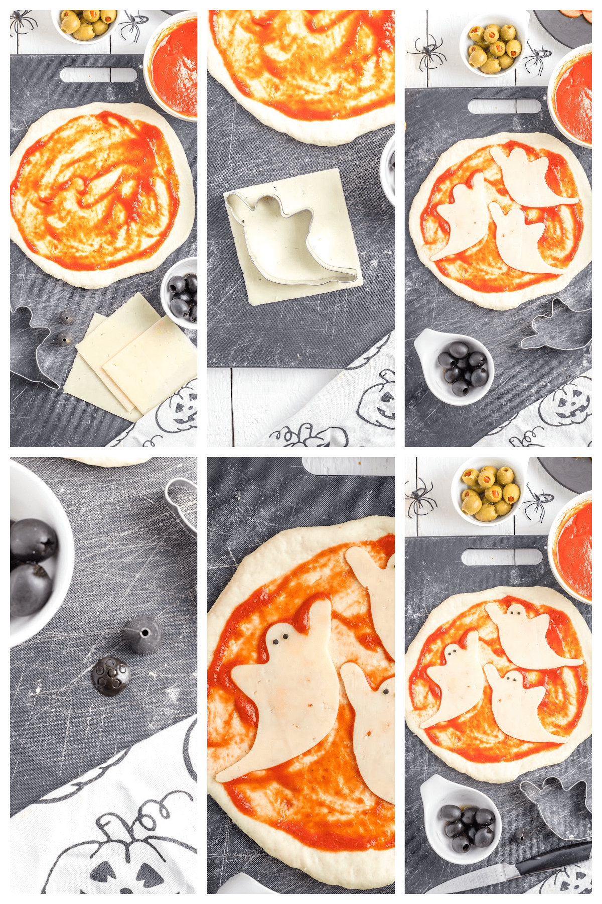 Halloween Party Pizza with spooky cheese ghosts.