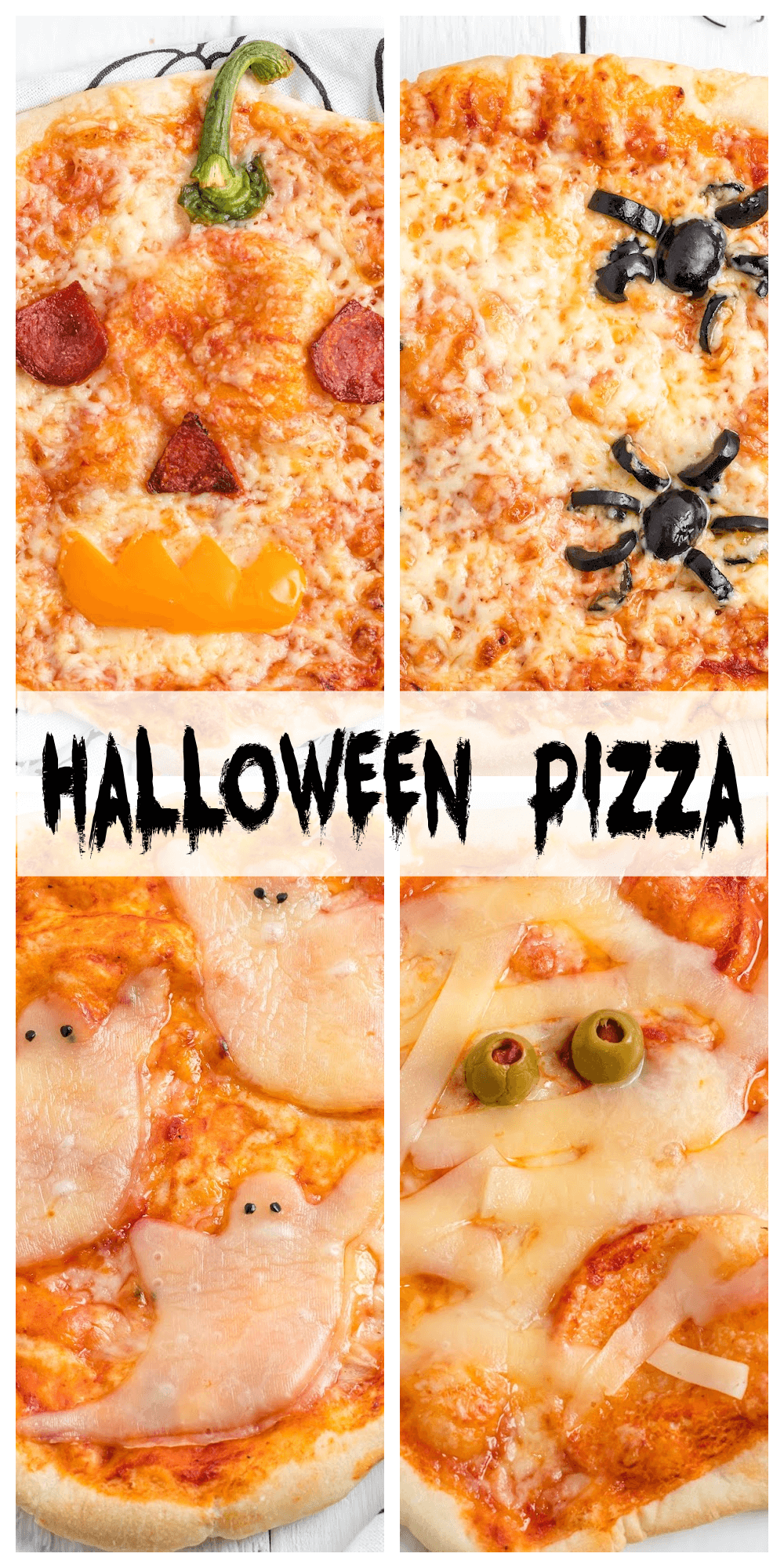 Halloween pizzas ideas for a fun halloween pizza party. Cut up the pieces ahead of time and let everyone make their own scary mini-pizza. If you're short own time on Halloween night, purchase frozen pizzas and decorate them however you like. #halloween_pizza, #fun_pizza_ideas, #halloween_themed_pizza