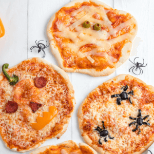 Three Halloween Pizzas for a fun fall party.