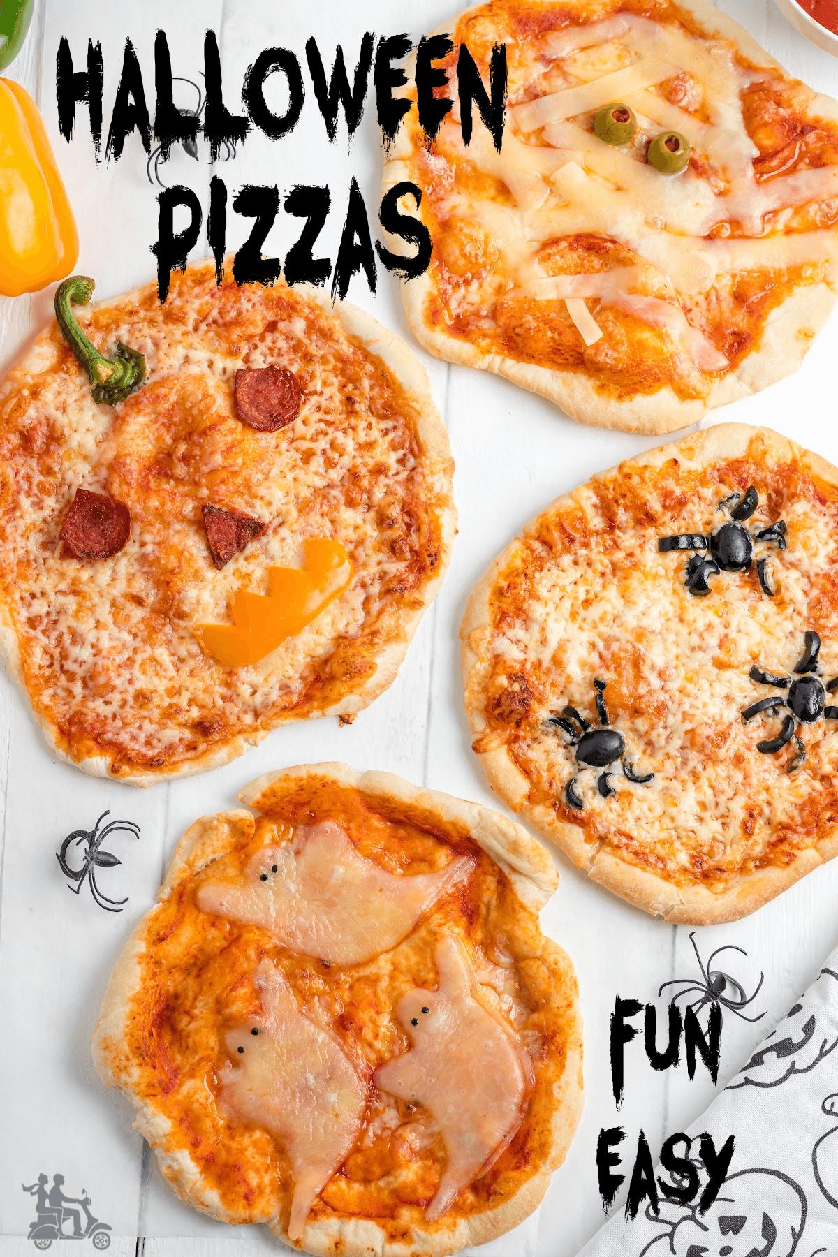 Jack-O-Lantern, Spider, Mummy, Ghost mini-pizzas for a fun Halloween party night.