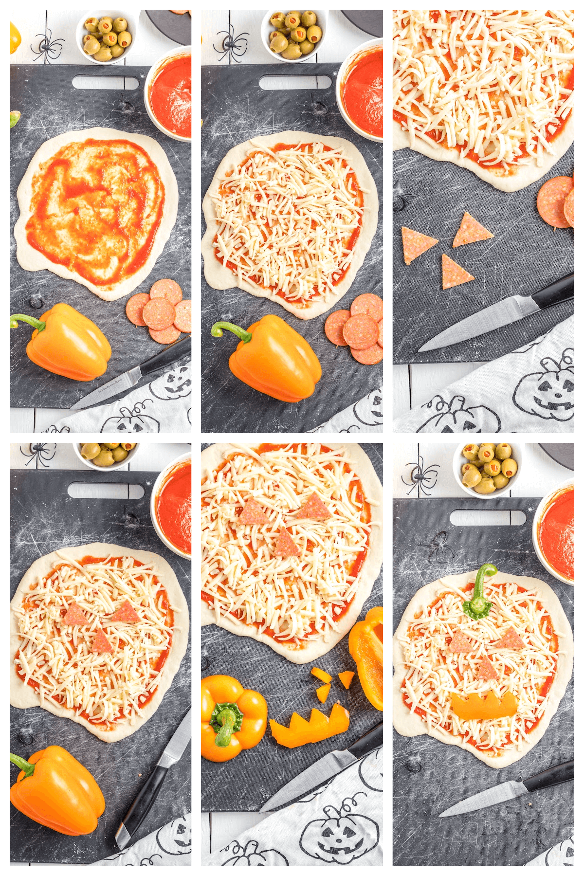 Step by Step instructions on how to make the Jack-O-Lantern Pizza.