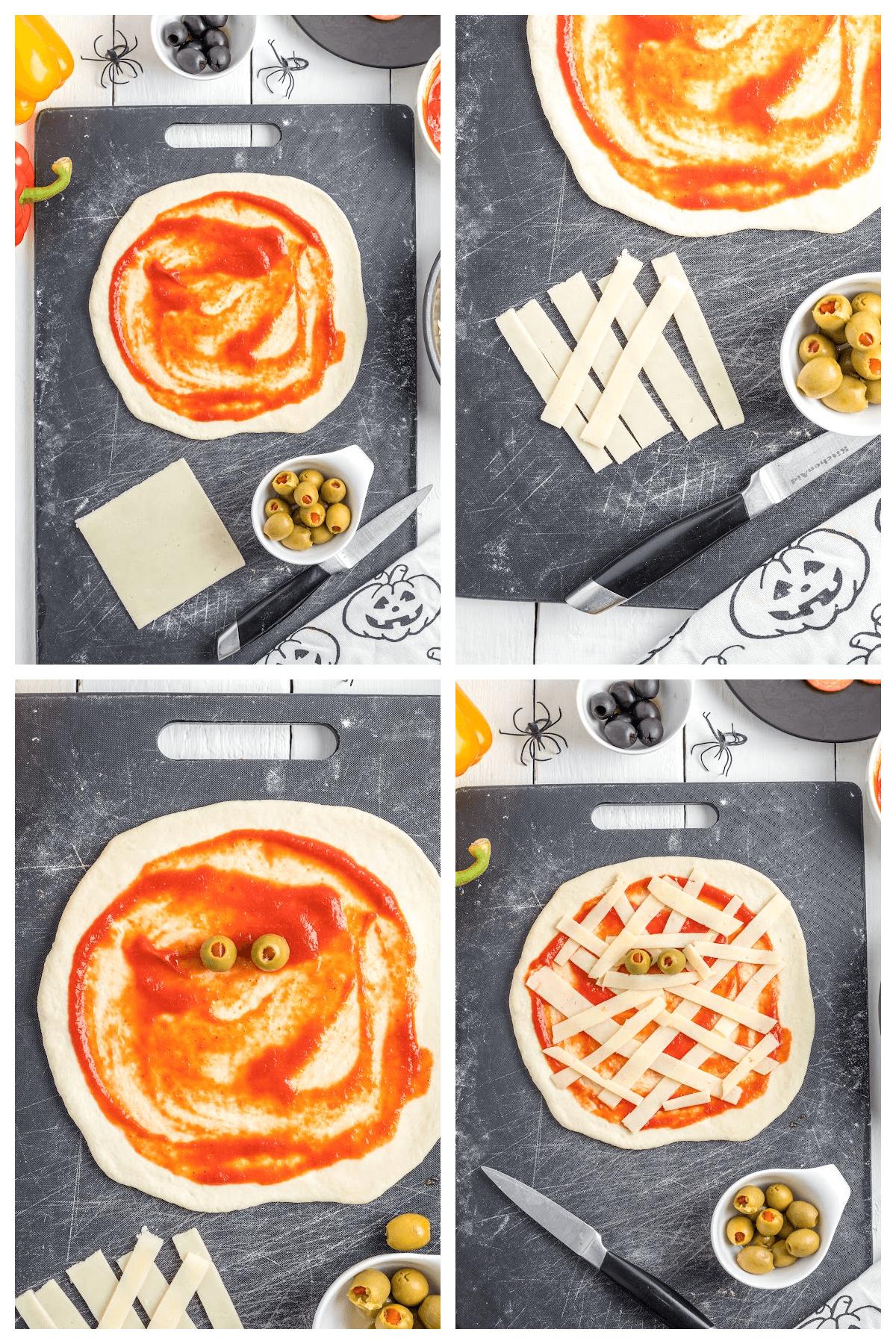 Mummy mini-pizza step-by-step instructions.