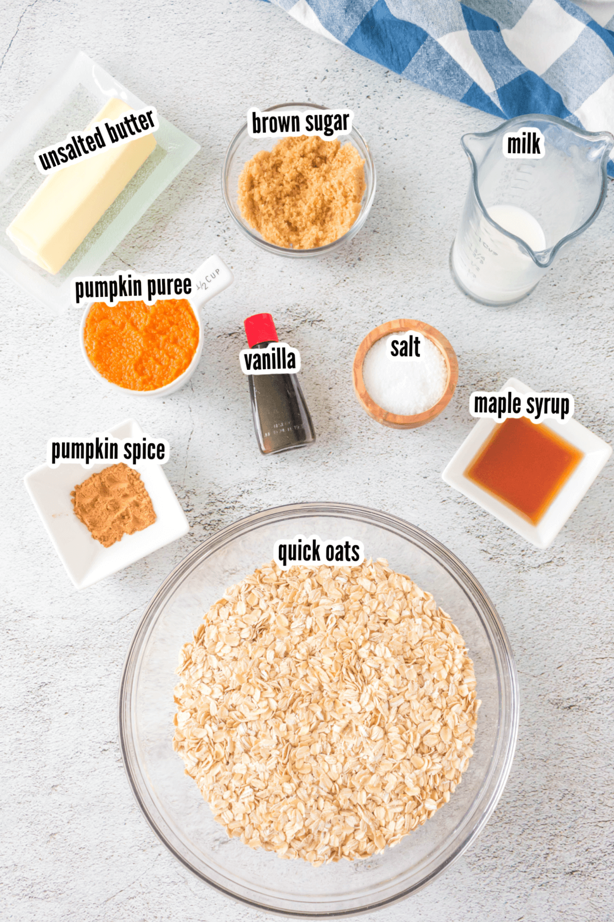 Ingredients on white background for Pumpkin Spice Oatmeal Cookies