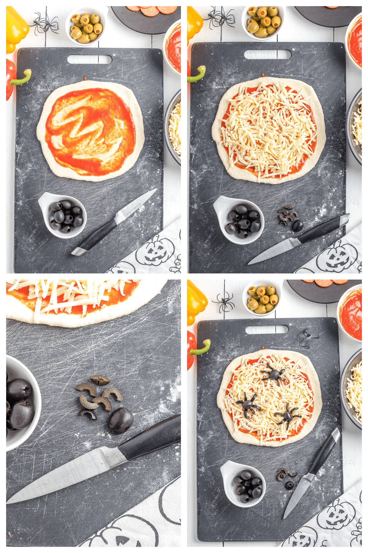 Spiders on mini-pizzas for a Halloween Party Pizza.