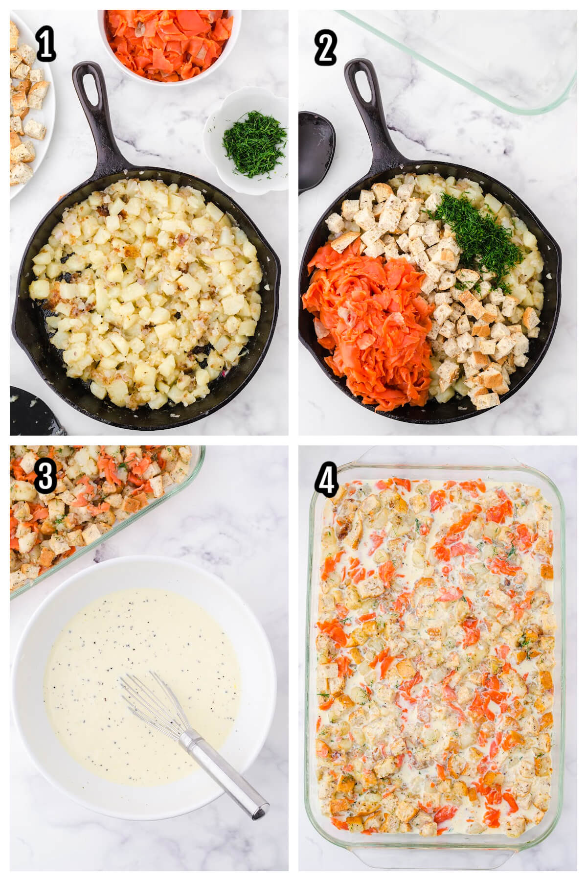 Steps to putting together the Smoked salmon casserole